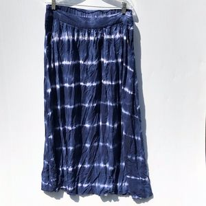 Merona Navy Blue Tye-Dye Midi Skirt Pockets Medium
